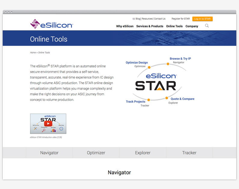 eSilicon web page design