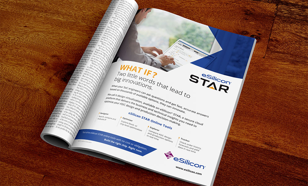 Print Ad for eSilicon promoting eSilicon STAR Online Tools