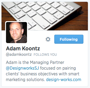Add company Twitter handle to personal Twitter profile.